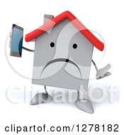 Clipart Of A 3d Unhappy White House Character Shrugging And Holding A Smart Phone Royalty Free Illustration