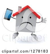 Clipart Of A 3d Unhappy White House Character Jumping And Holding A Smart Phone Royalty Free Illustration