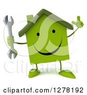 Clipart Of A 3d Happy Green House Character Holding Up A Finger And A Wrench Royalty Free Illustration
