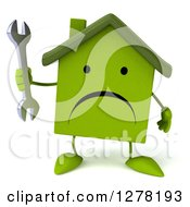 Clipart Of A 3d Unhappy Green House Character Holding A Wrench Royalty Free Illustration