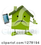 Clipart Of A 3d Unhappy Green House Character Gesturing Call Me And Holding A Smart Phone Royalty Free Illustration by Julos