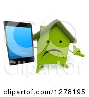Clipart Of A 3d Unhappy Green House Character Gesturing Call Me And Holding Up A Smart Phone Royalty Free Illustration by Julos