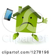 Clipart Of A 3d Unhappy Green House Character Jumping And Holding Up A Smart Phone Royalty Free Illustration by Julos