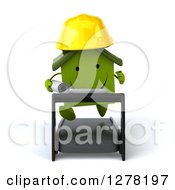 Clipart Of A 3d Happy Green House Contractor Character Running On A Treadmill Royalty Free Illustration by Julos