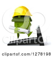 Clipart Of A 3d Happy Green House Contractor Character Facing Right And Running On A Treadmill Royalty Free Illustration by Julos