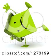 Clipart Of A 3d Unhappy Green House Character Doing A Cartwheel Royalty Free Illustration by Julos