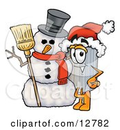 Clipart Picture Of A Garbage Can Mascot Cartoon Character With A Snowman On Christmas