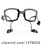 Clipart Of A 3d Pair Of Glasses Character Pointing Outwards Royalty Free Illustration