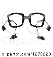 Clipart Of A 3d Pair Of Glasses Character Royalty Free Illustration by Julos