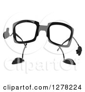Clipart Of A 3d Pair Of Glasses Character Giving A Thumb Up Royalty Free Illustration by Julos