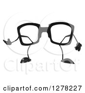 Clipart Of A 3d Pair Of Glasses Character Presenting Royalty Free Illustration by Julos