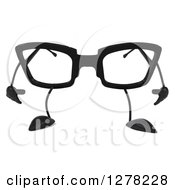 Clipart Of A 3d Pair Of Glasses Character Pouting Royalty Free Illustration by Julos