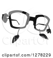 Clipart Of A 3d Pair Of Glasses Character Pointing At You Royalty Free Illustration by Julos