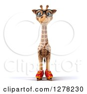 Clipart Of A 3d Bespectacled Giraffe Standing In Roller Blades Royalty Free Illustration