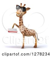Clipart Of A 3d Giraffe Wearing Sunglasses Facing Left And Reading A Book Royalty Free Illustration