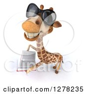 Clipart Of A 3d Giraffe Wearing Sunglasses Facing Left Looking Up And Reading A Book Royalty Free Illustration