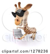 Clipart Of A 3d Giraffe Wearing Sunglasses Facing Left And Reading A Book 2 Royalty Free Illustration