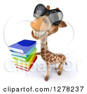 Clipart Of A 3d Giraffe Wearing Sunglasses Facing Left Looking Up And Holding A Stack Of Books Royalty Free Illustration