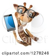 Clipart Of A 3d Bespectacled Happy Giraffe Holding A Smart Phone Around A Sign Royalty Free Illustration