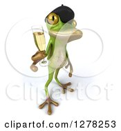 Clipart Of A 3d French Frog Holding Up Champagne Royalty Free Illustration