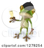 Clipart Of A 3d French Frog Looking Up And Holding Champagne Royalty Free Illustration