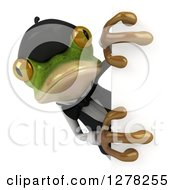 Clipart Of A 3d French Waiter Frog Looking Around A Sign Royalty Free Illustration
