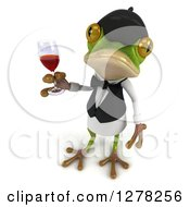 Clipart Of A 3d French Waiter Frog Looking Up And Holding A Glass Of Red Wine Royalty Free Illustration