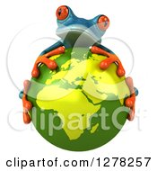 Clipart Of A 3d Turquoise Frog Hugging A Green Planet Earth Royalty Free Illustration