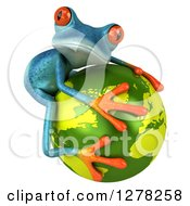Clipart Of A 3d Turquoise Frog Hugging A Green Planet Earth 2 Royalty Free Illustration