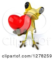 Clipart Of A 3d Light Green Frog Holding Up A Heart Royalty Free Illustration