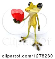 Clipart Of A 3d Light Green Frog Facing Slightly Left And Holding Out A Heart Royalty Free Illustration