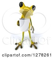 Clipart Of A 3d Light Green Frog Holding A Coffee Mug Royalty Free Illustration