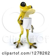 Clipart Of A 3d Light Green Frog Walking Slightly Right With A Coffee Mug Royalty Free Illustration