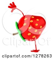 Clipart Of A 3d Strawberry Character Doing A Cartwheel Royalty Free Illustration by Julos
