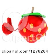 Clipart Of A 3d Strawberry Character Holding A Thumb Up Royalty Free Illustration by Julos