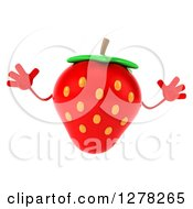 Clipart Of A 3d Strawberry Character Jumping Royalty Free Illustration by Julos