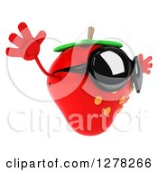 Clipart Of A 3d Strawberry Character Wearing Sunglasses Facing Right And Jumping Royalty Free Illustration by Julos