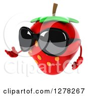 Clipart Of A 3d Strawberry Character Wearing Sunglasses Facing Left And Presenting Royalty Free Illustration by Julos