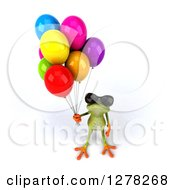 Clipart Of A 3d Green Springer Frog Wearing Sunglasses Looking Up And Holding Party Balloons Royalty Free Illustration