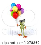 Clipart Of A 3d Green Springer Frog Wearing Sunglasses Looking Left And Holding Party Balloons Royalty Free Illustration