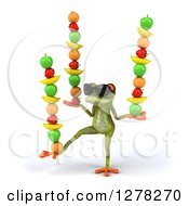 Clipart Of A 3d GreenSpringer Frog Wearing Sunglasses And Balancing Stacked Fruit Royalty Free Illustration