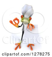 Clipart Of A 3d Formal Green Springer Frog Chef Gesturing Ok And Holding Up A Menu Royalty Free Illustration