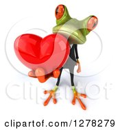 Clipart Of A 3d Formal Green Springer Frog Holding Up A Heart Royalty Free Illustration