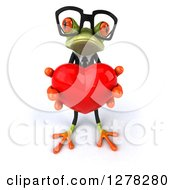 Clipart Of A 3d Bespectacled Formal Green Springer Frog Holding Out A Heart Royalty Free Illustration