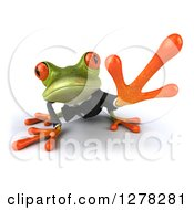 Clipart Of A 3d Formal Green Springer Frog Crouching And Reaching Royalty Free Illustration