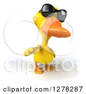 Clipart Of A 3d Yellow Duck Wearing Sunglasses And Pointing Outwards Royalty Free Illustration