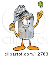 Clipart Picture Of A Garbage Can Mascot Cartoon Character Preparing To Hit A Tennis Ball