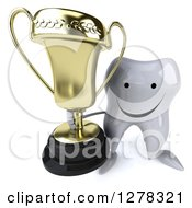 Clipart Of A 3d Happy Tooth Character Holding Up A Trophy Royalty Free Illustration