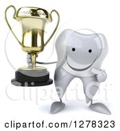 Clipart Of A 3d Happy Tooth Character Holding And Pointing To A Trophy Royalty Free Illustration