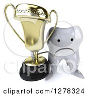 Clipart Of A 3d Unhappy Tooth Character Holding Up A Trophy Royalty Free Illustration